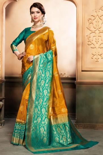 Lovely Orange and Green Silk Jaquard Work Designer Saree