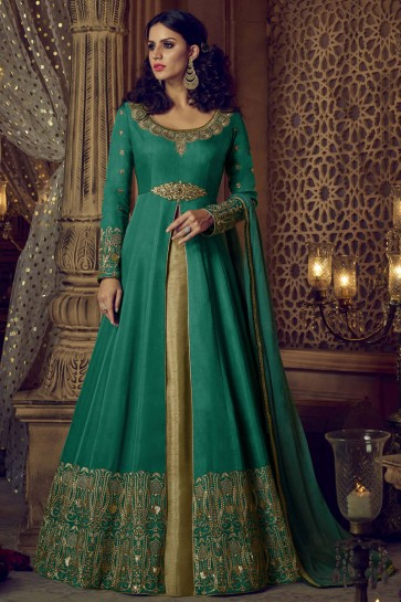 Gorgeous Green Silk Embroidered and Stone Work Anarakali Salwar Suit