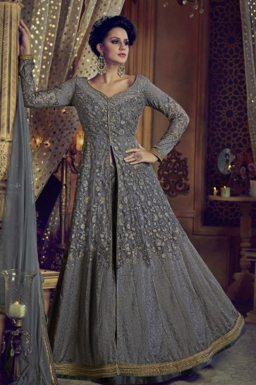 Classic Grey Net and Banglori Silk Embroidered Work and Stone Work Anarkali Suits