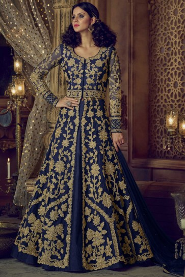Admirable Navy Blue Net Embroidered Work and Stone Work Anarkali Designer Suits