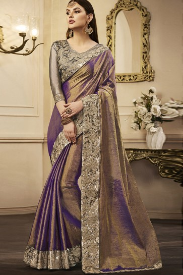 Admirable Purple Silk Designer Embroidered Party Wear Saree