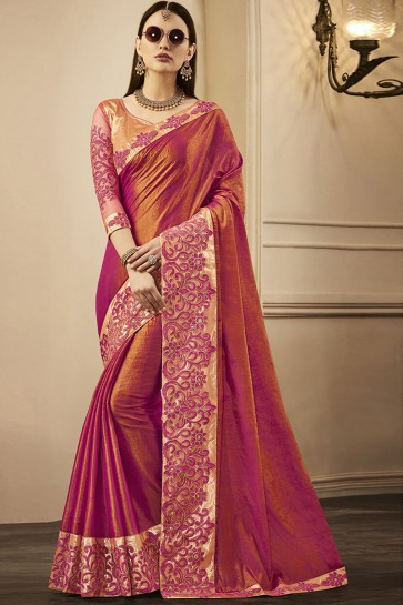 Desirable Pink Silk Designer Embroidered Party Wear Saree