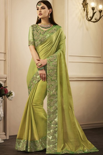 Lovely Green Silk Embroidered Designer Party Wear Saree
