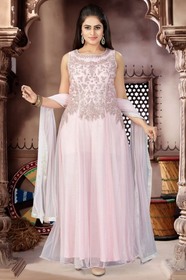 Supreme Pink Net Churidar Bottom Party Wear Plus Size Readymade Gown