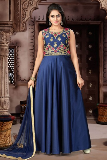 Pretty Navy Blue Chanderi and Lycra Churidar Bottom Plus Size Readymade Gown