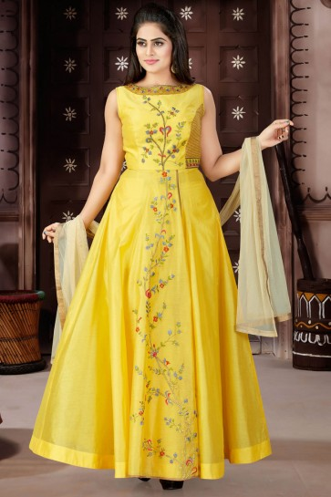 Excellent Yellow Chanderi and Lycra Churidar Bottom Plus Size Readymade Gown With Chiffon Dupatta