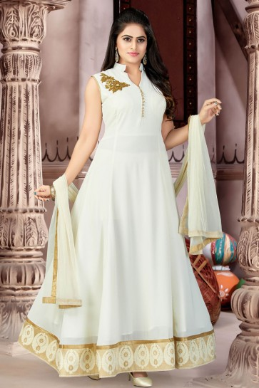 Admirable Cream Georgette and Lycra Churidar Plus Size Readymade Gown With Chiffon Dupatta