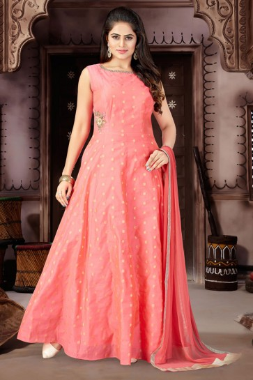 Beautiful Pink Chanderi and Lycra Churidar Bottom Plus Size Readymade Gown