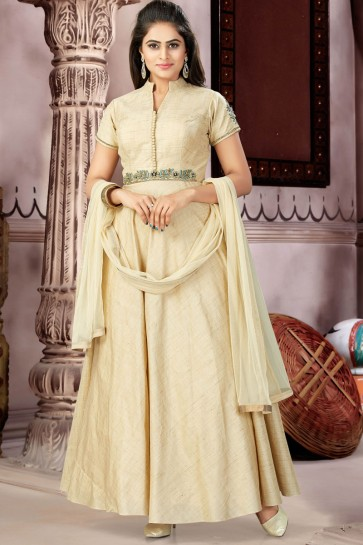 Desirable Beige Silk and Lycra Churidar Plus Size Readymade Gown