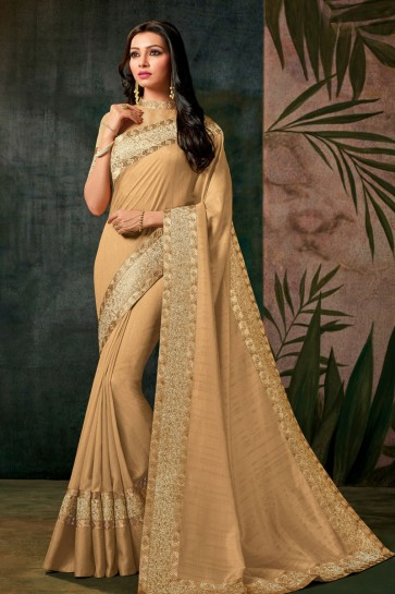 Charming Cream Designer Silk Embroidered Work Saree