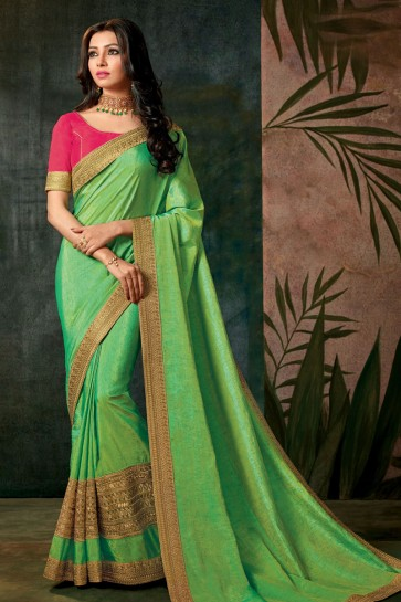 Excellent Green Designer Silk Embroidered Work Saree