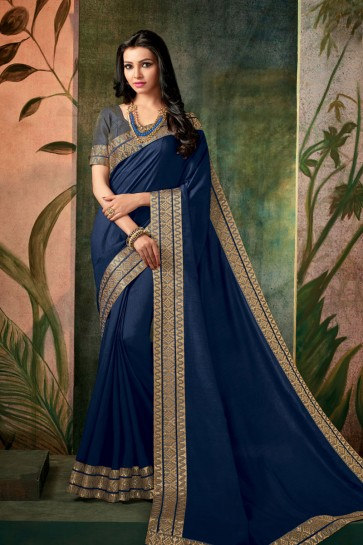 Ultimate Navy Blue Silk Embroidered Work Designer Saree