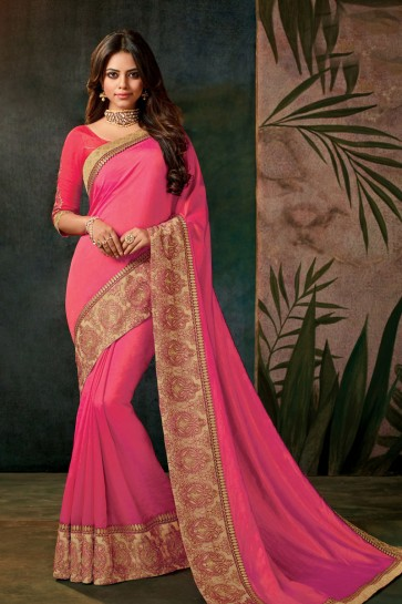 Classic Pink Silk Embroidered Work Designer Saree