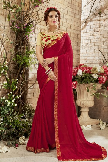 Desirable Red Georgette Embroidered Designer Saree
