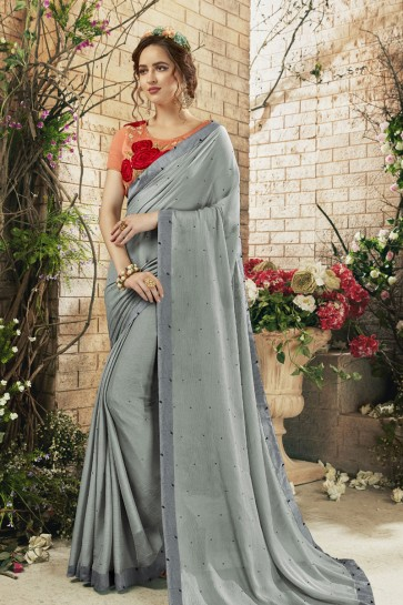 Lovely Silver Georgette Designer Embroidered Saree