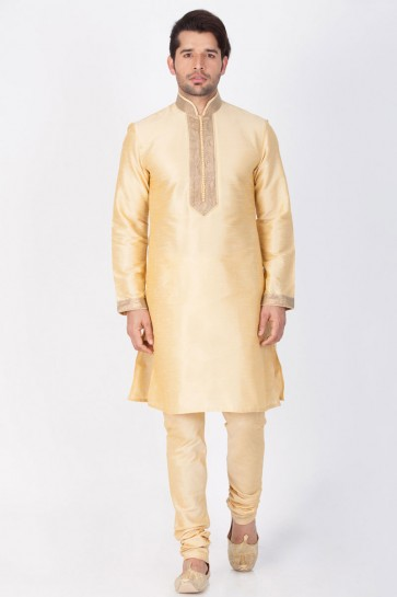 Beautiful Golden Cotton and Silk Designer Kurta Pajama