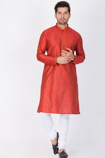 Supreme Maroon Cotton and Silk Designer Kurta Pajama
