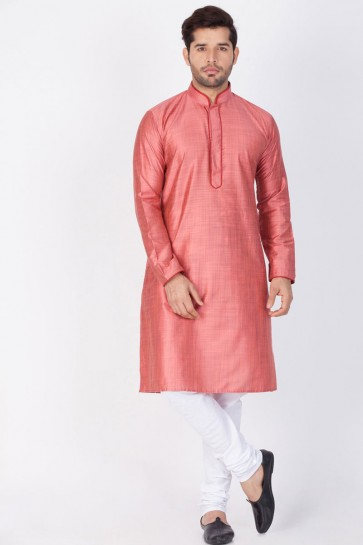 Stylish Pink Cotton and Silk Designer Kurta Pajama