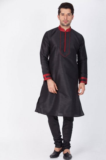 Supreme Black Cotton and Silk Designer Kurta Pajama