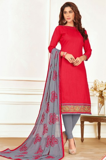 Beautiful Red Cotton Salwar Suit with Nazmin Dupatta