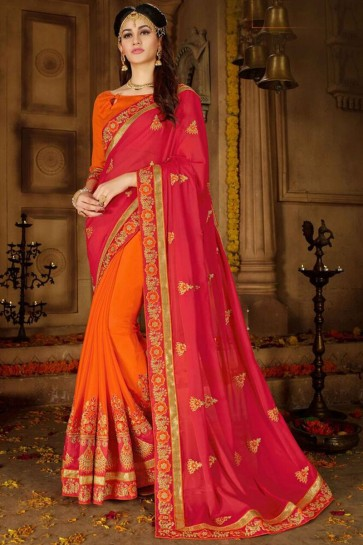 Beautiful Red And Orange Embroidered Rangoli And Georgette Saree And Blouse