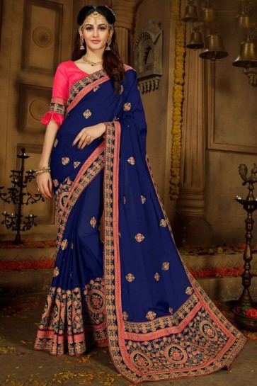 Navy Blue And Maroon Georgette And Rangoli Saree With Banglori Silk Blouse