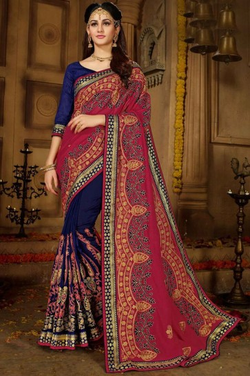 Party Wear Navy Blue Embroidered Designer Silk Saree And Banglori Silk Blouse