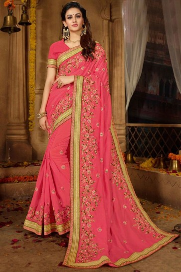 Gorgeous Baby Pink Embroidered Silk Saree With Border Work Blouse