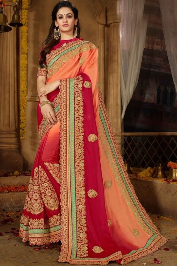 Pretty Embroidery Work Maroon And Peach Moss And Chiffon Fabric Saree And Blouse