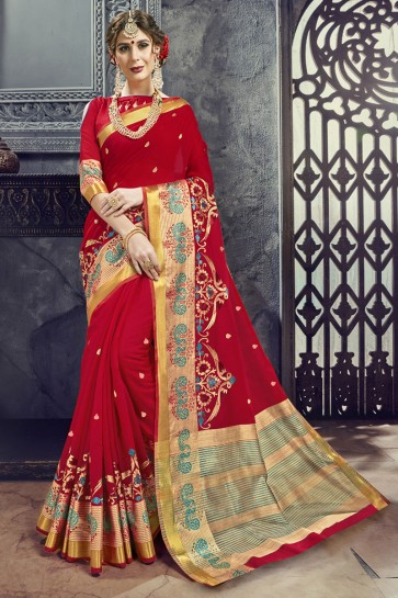 Pretty Red Cotton and Silk Embroidered Saree With Cotton and Silk Blouse