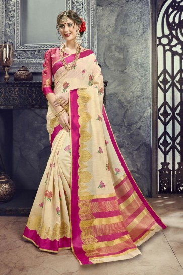 Gorgeous Cream Cotton and Silk Embroidered Saree With Cotton and Silk Blouse