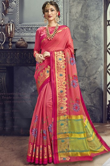 Excellent Pink Cotton and Silk Embroidered Saree With Cotton and Silk Blouse