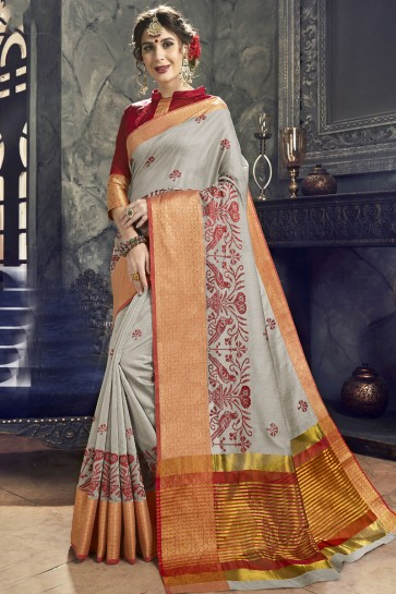 Supreme Grey Cotton and Silk Embroidered Saree With Cotton and Silk Blouse