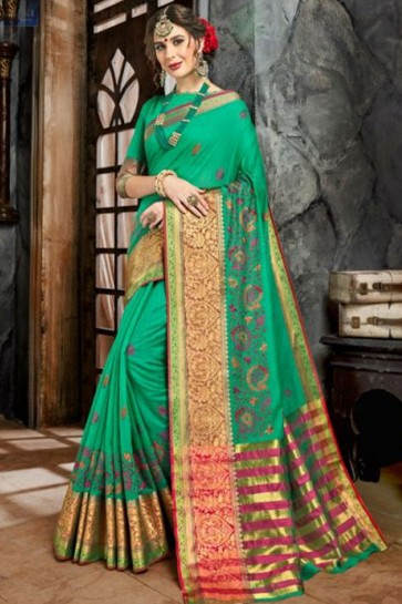 Classic Green Cotton and Silk Embroidered Saree With Cotton and Silk Blouse