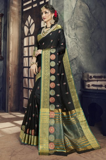 Gorgeous Black Cotton and Silk Embroidered Saree With Cotton and Silk Blouse
