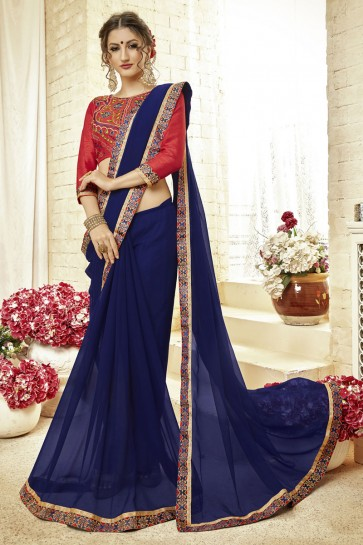 Admirable Navy Blue Fancy Fabric Embroidered Saree With Fancy Fabric Blouse