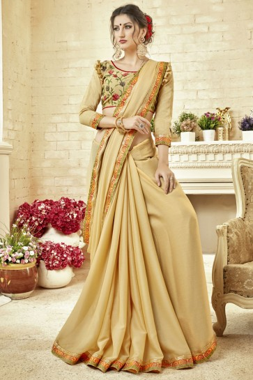 Pretty Cream Fancy Fabric Embroidered Saree With Fancy Fabric Blouse