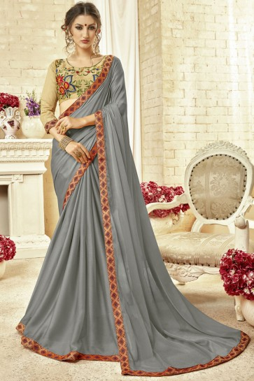 Gorgeous Grey Fancy Fabric Embroidered Saree With Fancy Fabric Blouse