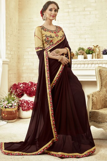 Stylish Maroon Fancy Fabric Embroidered Saree With Fancy Fabric Blouse