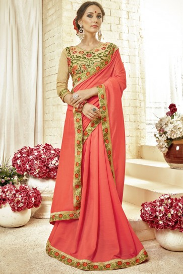 Classic Peach Fancy Fabric Embroidered Saree With Fancy Fabric Blouse