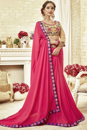 Desirable Pink Fancy Fabric Embroidered Saree With Fancy Fabric Blouse