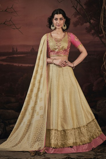 Beautiful Cream Fancy Lehenga Choli with Net Dupatta