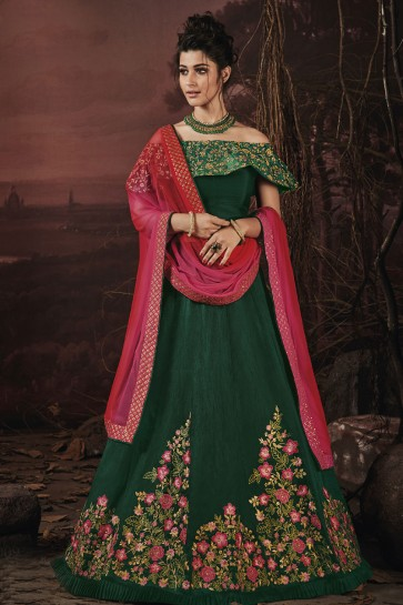 Admriable Green Embroidered Work Fancy Designer Lehenga Choli