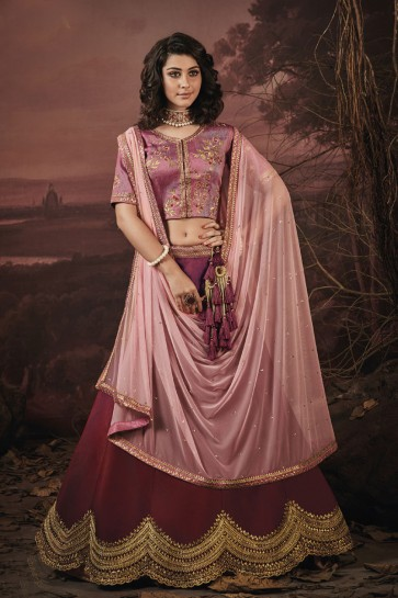 Pretty Maroon Fancy Embroidered Work Designer Lehenga Choli