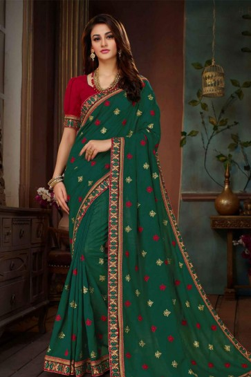 Classic Green Silk Embroidered Designer Saree
