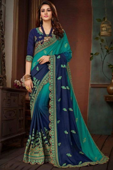 Pretty Green and Navy Blue Silk Designer Embroidered Saree