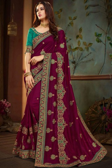 Desirable Purple Silk Designer Embroidered Saree