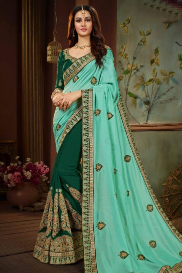 Excellent Turquoise and Green Silk Embroidered Designer Saree