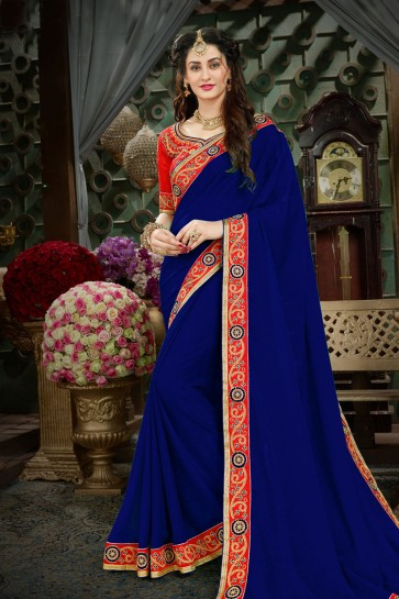 Beautiful Navy Blue Georgette Embroidered Designer Saree