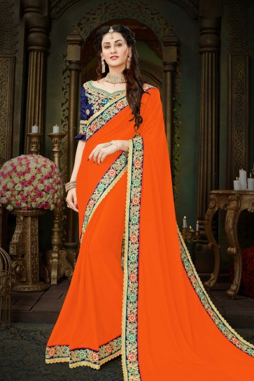 Lovely Orange Georgette Embroidered Designer Saree